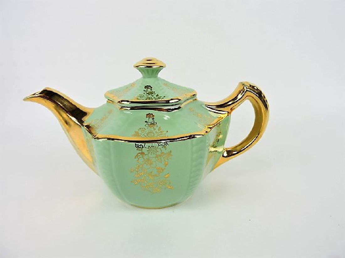 Hall China teapot, Connie, green with