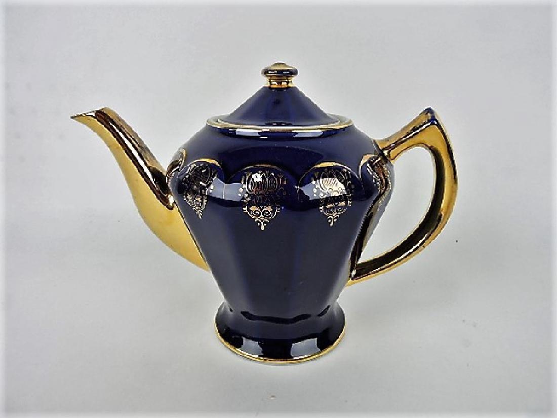 Hall China coffeepot, cobalt Armory