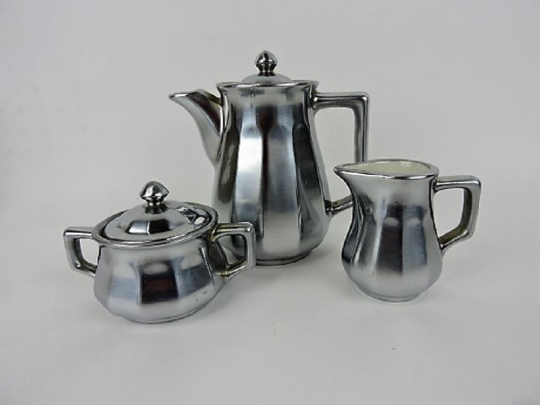 Hall China tea set - Metal clad Belview
