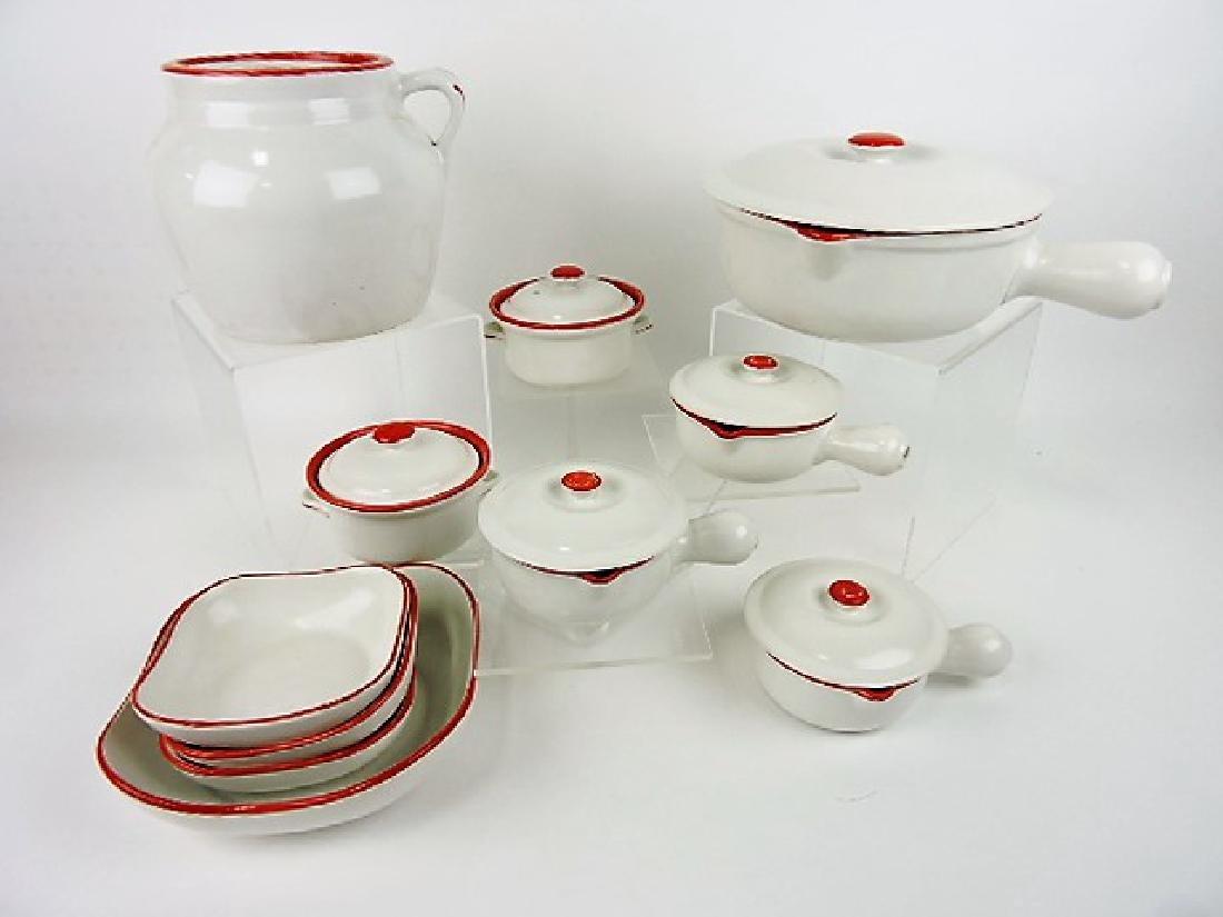 Hall China set - red & white - cookie jar,