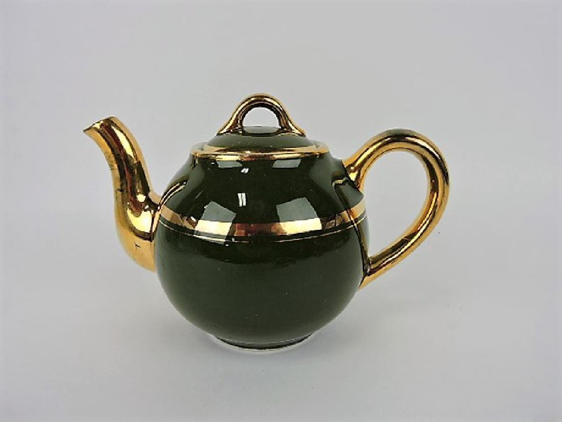 Hall China teapot, French, stock green with