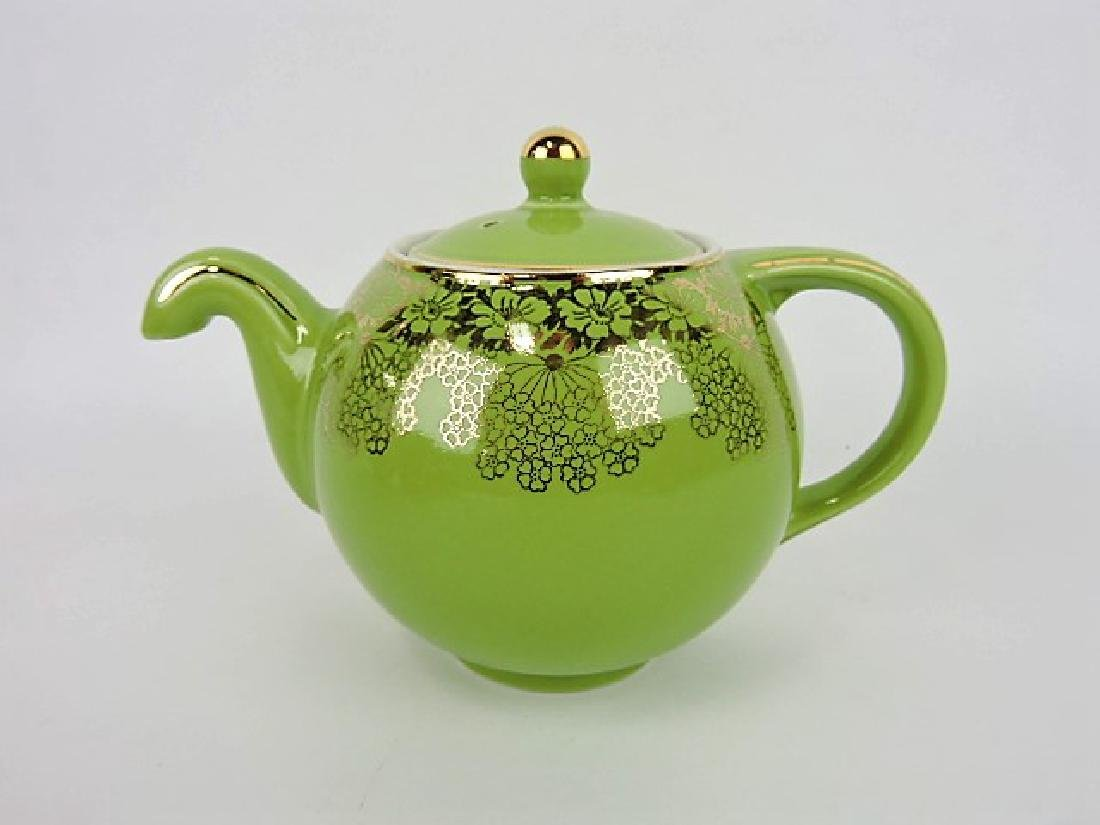 Hall China teapot, chartreuse no drip with