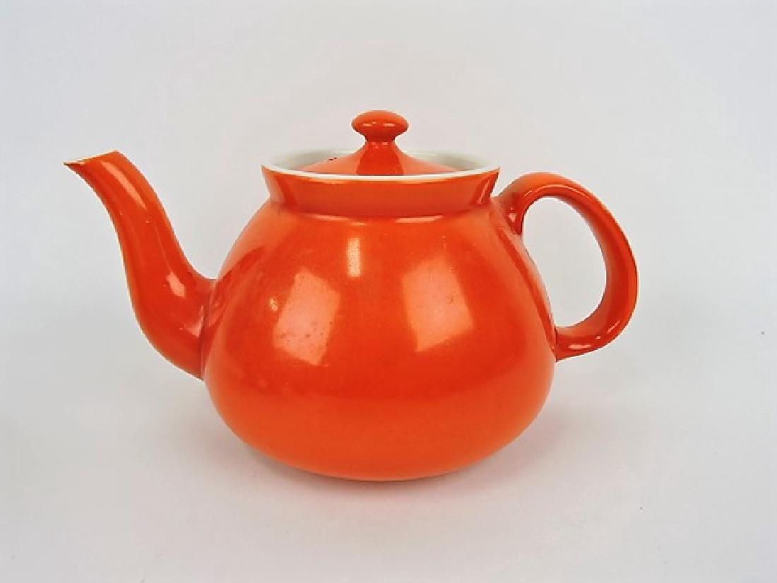 Hall China teapot, New York, 10 cup, orange