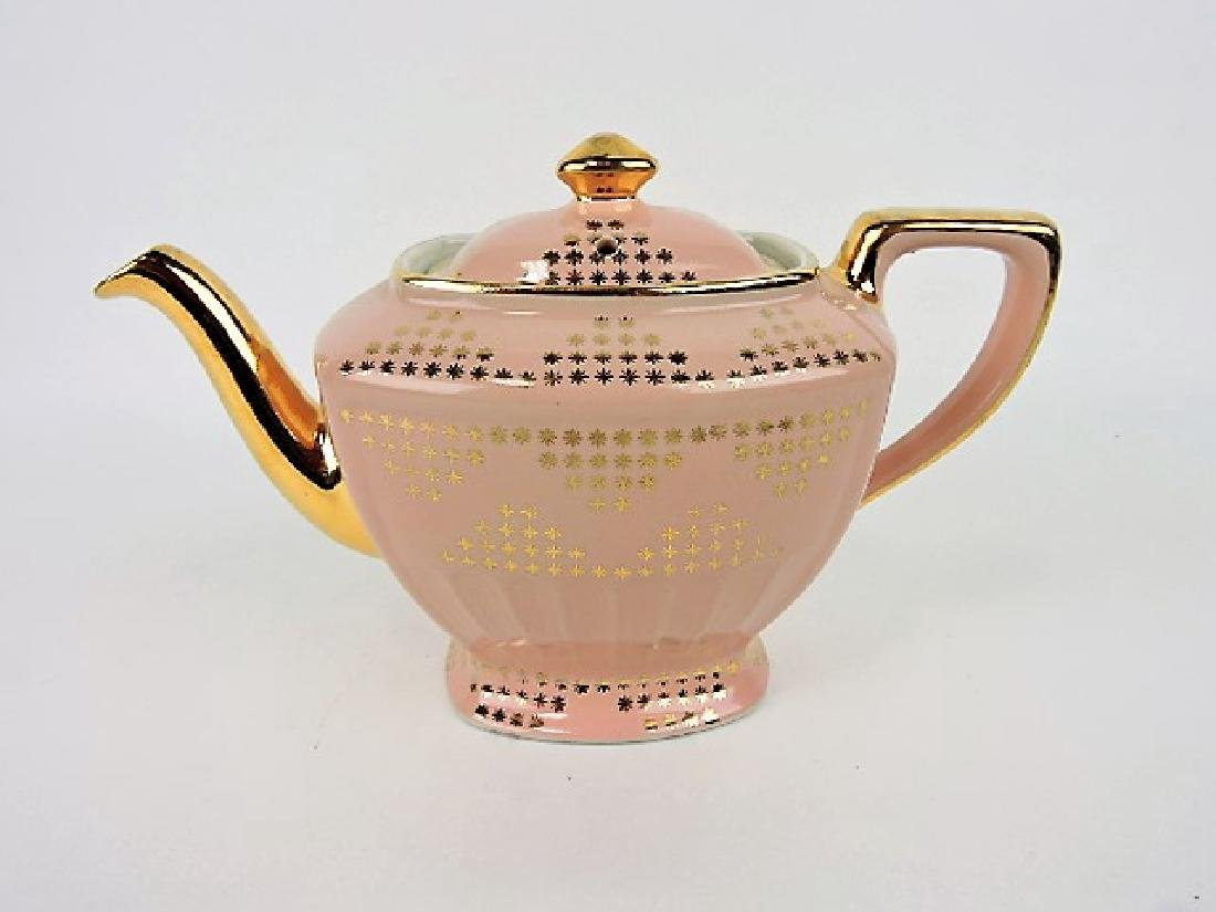 Hall China teapot, pink Hollywood with gold