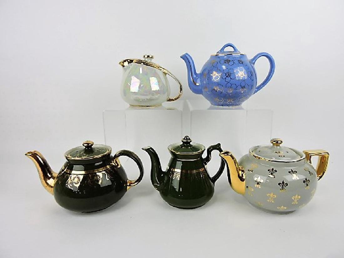 Hall China lot of 5 teapots
