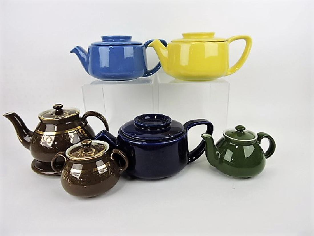 Hall China lot of 5 teapots, one with sugar and
