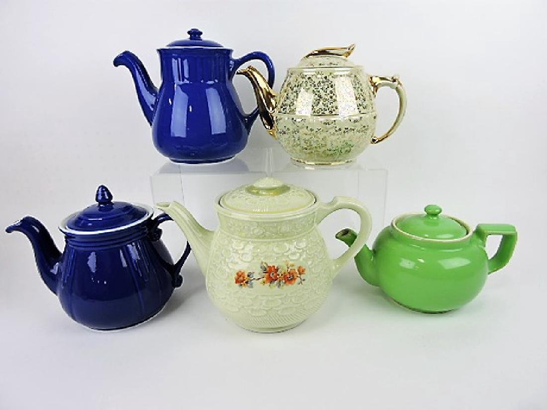 Hall China lot of 5 teapots and drip-o-lators