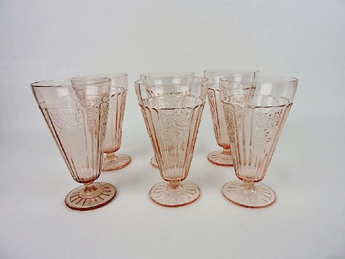 """Pink Depression glass lot of 6 - 6 3/4"""" Mayfair"""