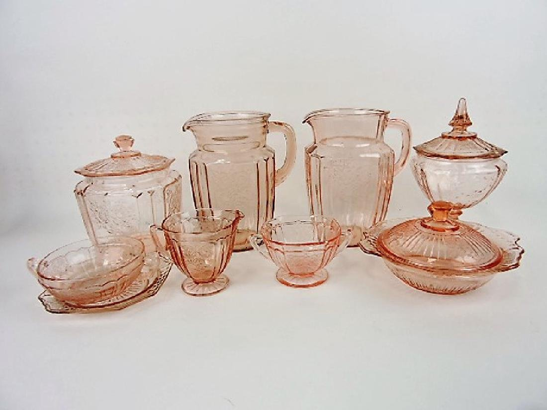 Pink Depression Mayfair lot of 8 pcs - 2 pitchers,