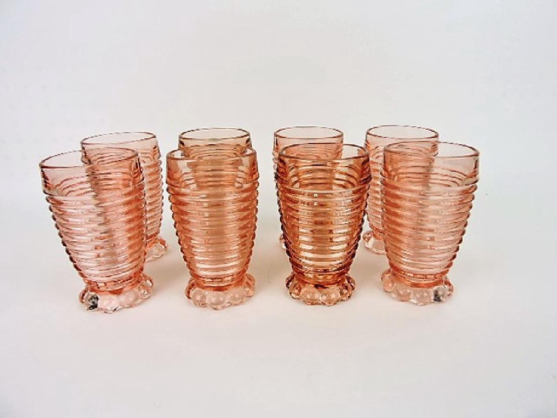 "Pink Depression Manhattan set of 8 - 5 1/4"" water"