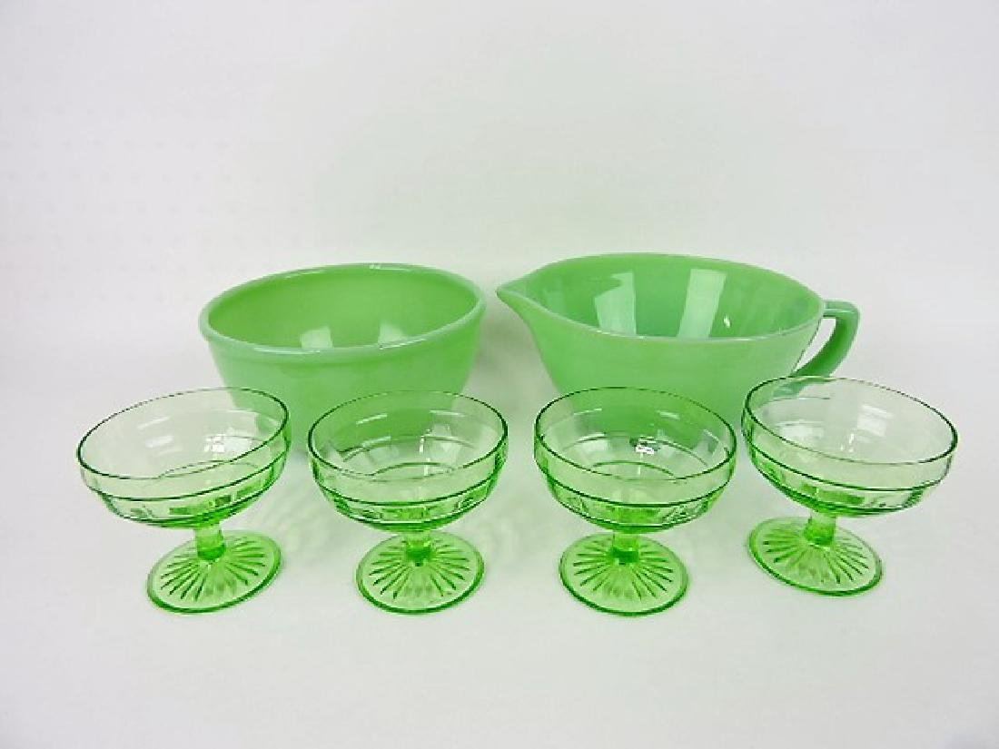 Jadeite batter bowl and mixing bowl with 4