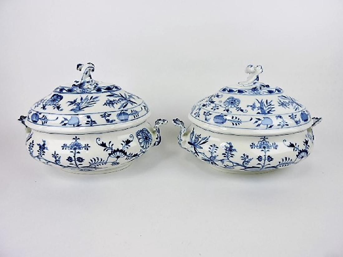 Meissen Blue Onion pair of large soup tureens,