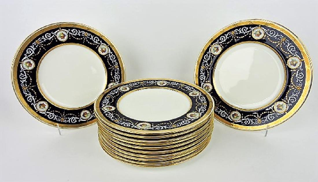 Minton set of 12 cabinet plates with cobalt band