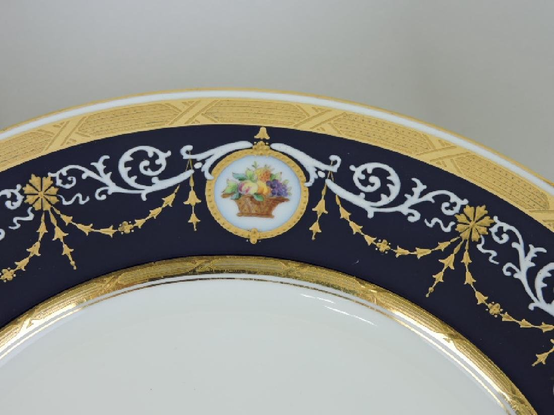 Minton set of 12 cabinet plates with cobalt band - 2