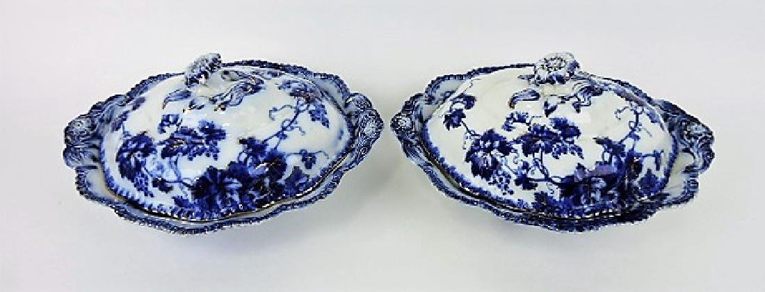 Virgina pattern pair of flow blue tureens