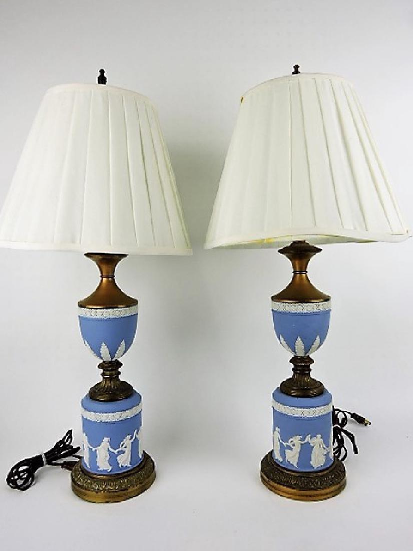 Wedgwood Jasperware pair of table lamps