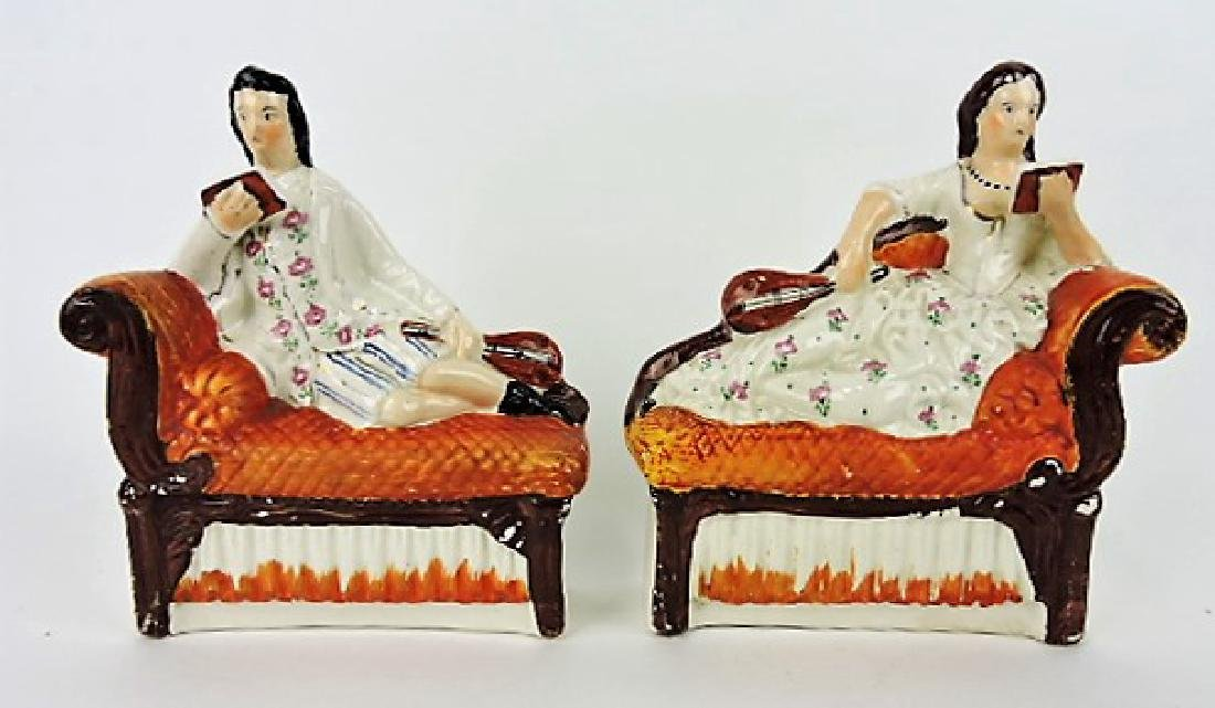 Staffordshire pair of figures of man and woman