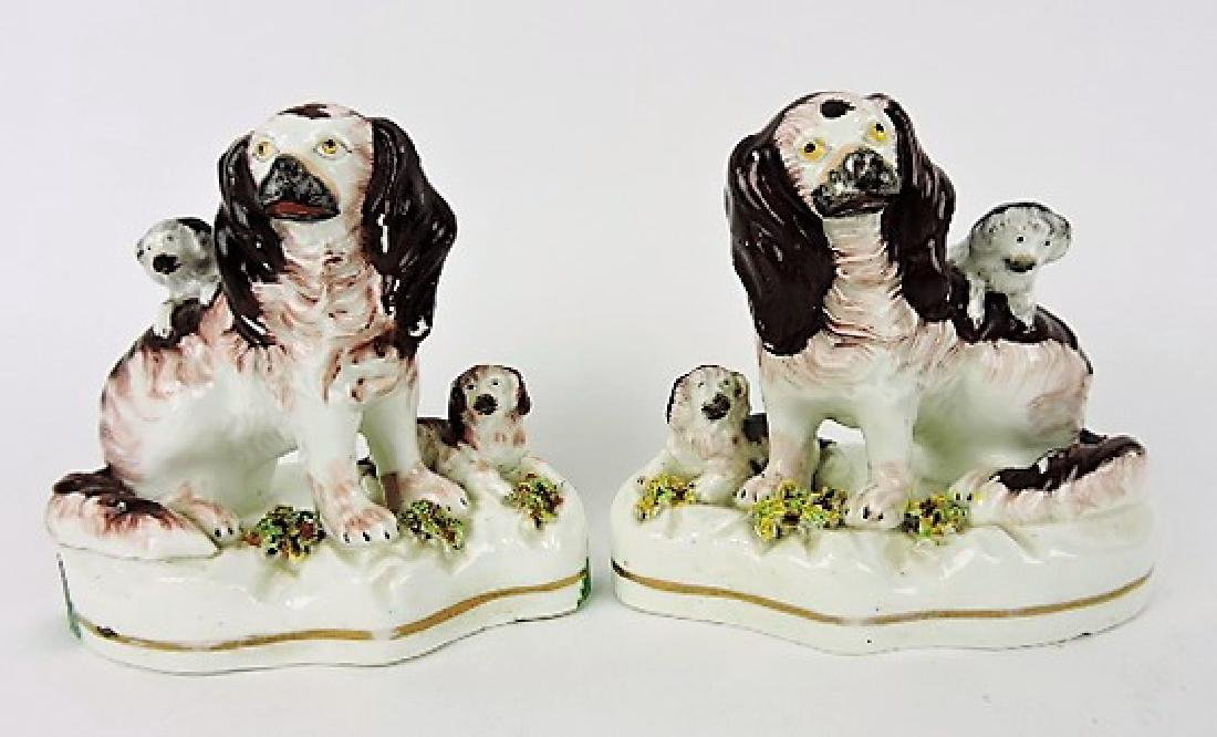 "Staffordshire pair of spaniels with pups, 5"","