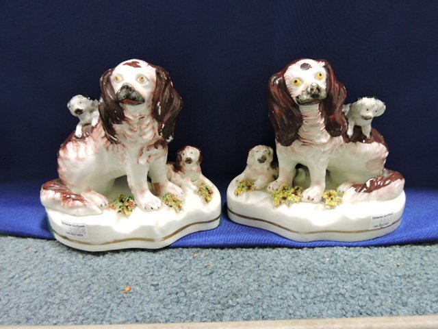 "Staffordshire pair of spaniels with pups, 5"", - 2"