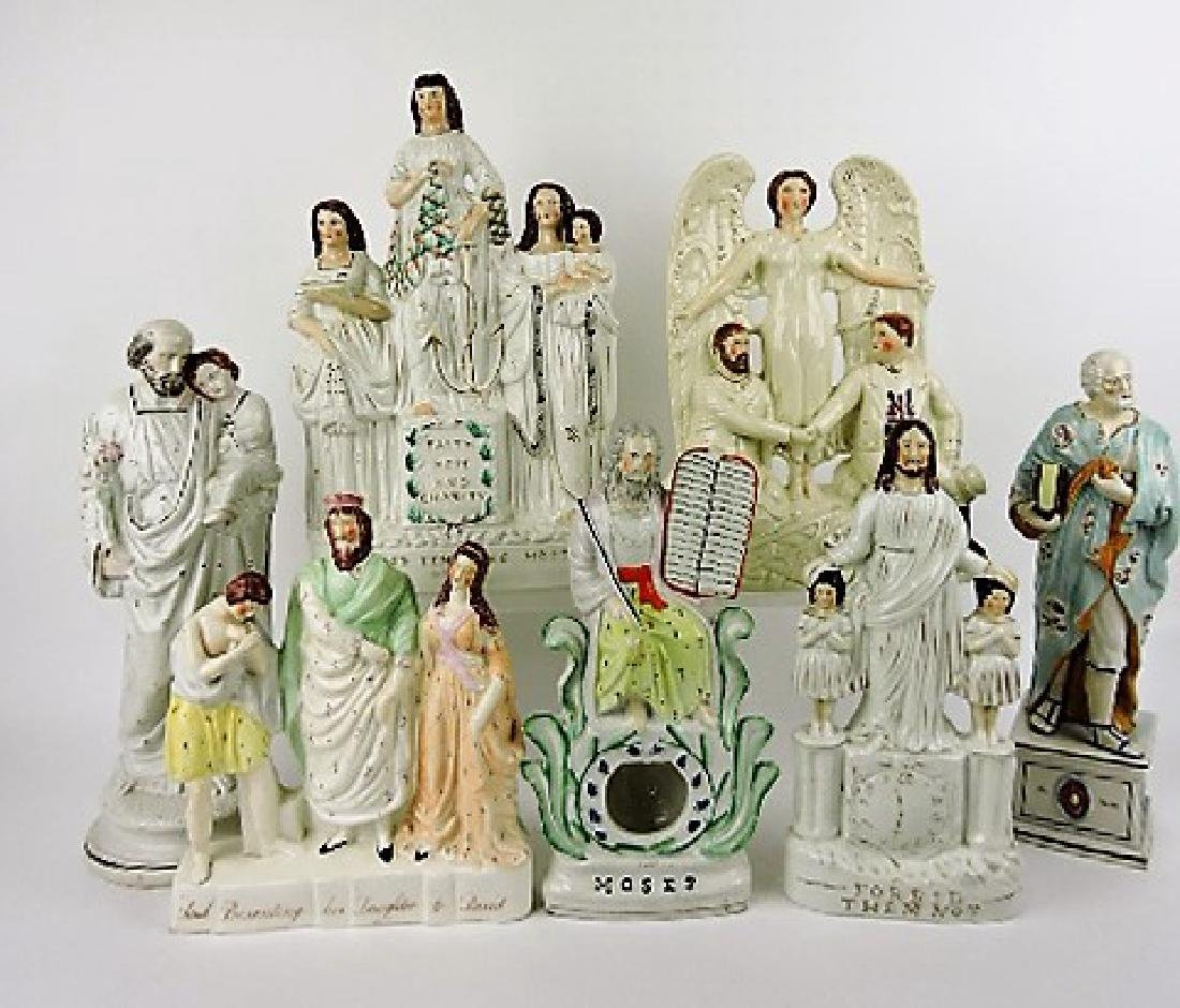 "Staffordshire lot of 7 figures: ""Faith, Hope, &"