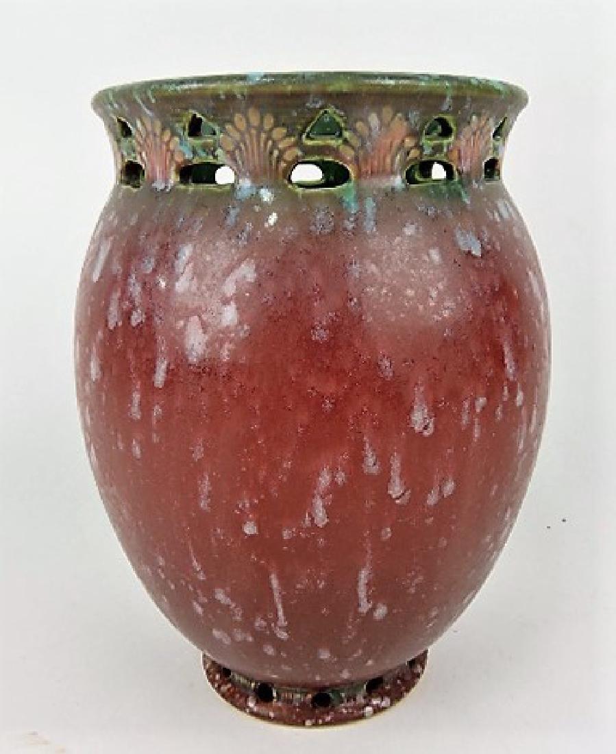 Roseville Ferrella dark rose art pottery vase,