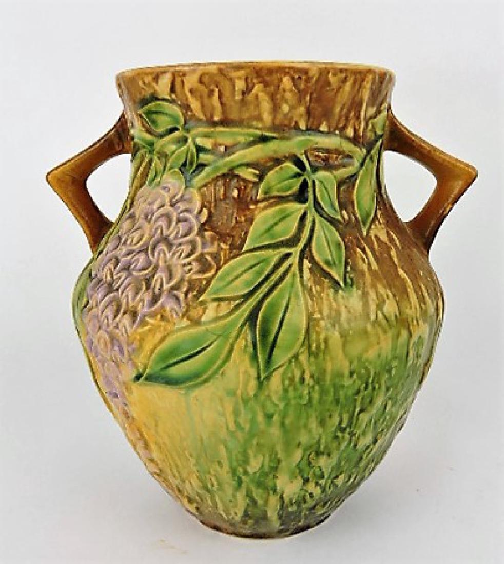 """Roseville Wisteria tan art pottery vase, 680-8"""""""