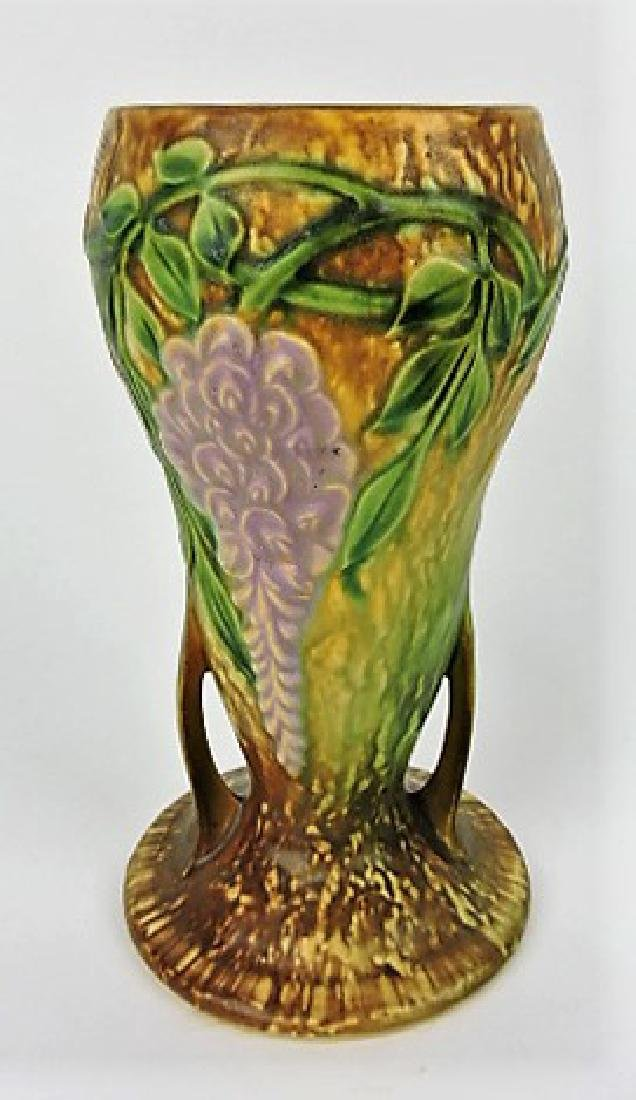 Roseville Wisteria tan art pottery vase, 635-8""