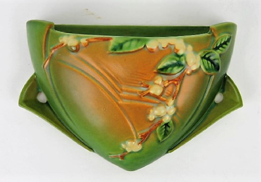 Roseville Snowberry green art pottery wall pocket,