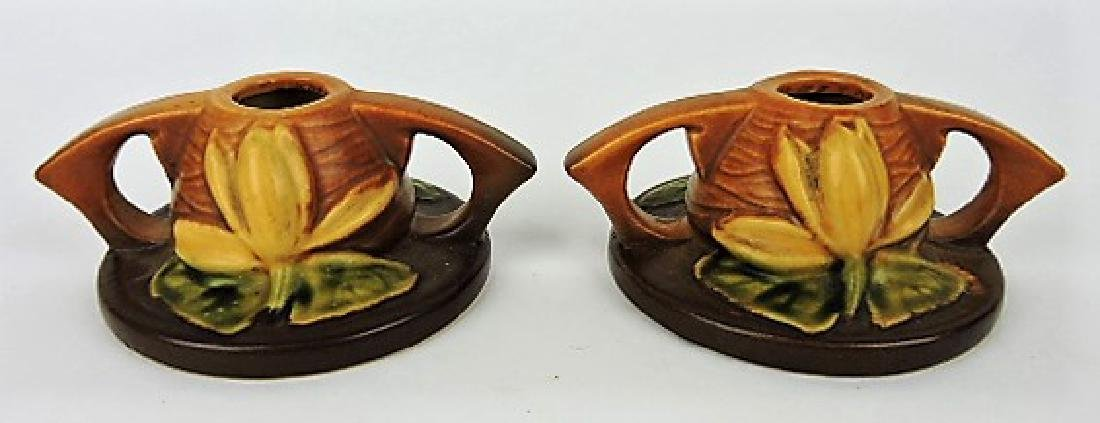 Roseville brown Magnolia pair of candle holders,