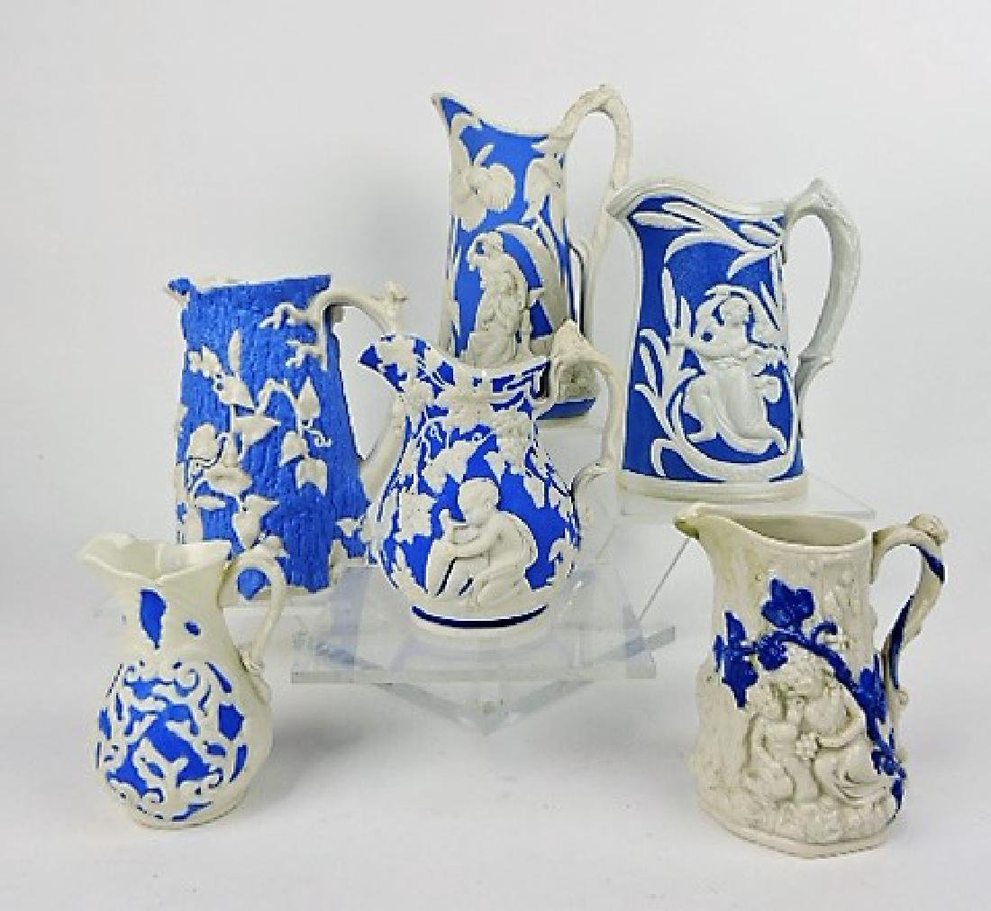 """Lot of 6 blue and white parian jugs 4"""" to 8"""""""