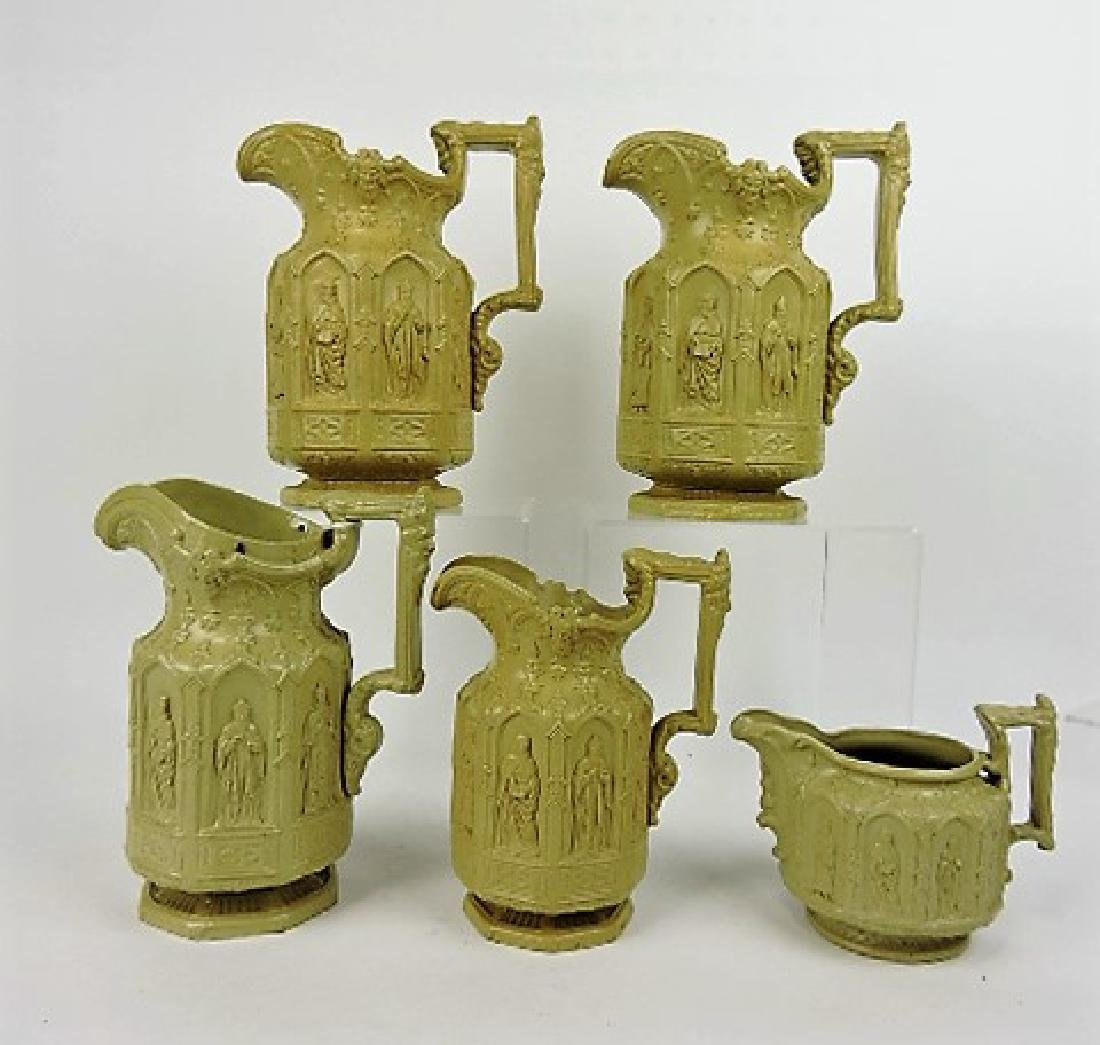 "Meigh set of 5 ""Apostle"" brown molded jugs, 2 - 9"""