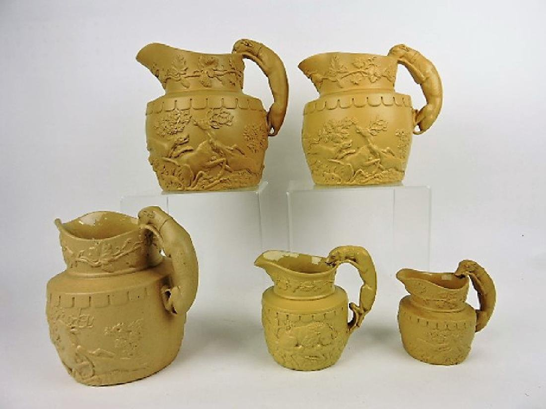 """Ridgway """"The Kill"""" set of 5 hunt jugs with hound"""