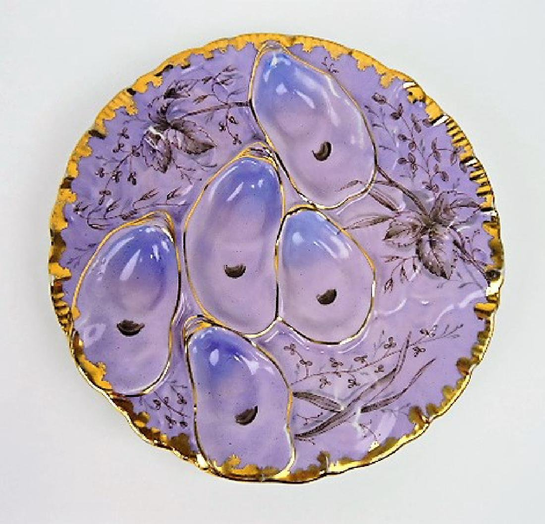 Porcelain turkey style oyster plate, violet with