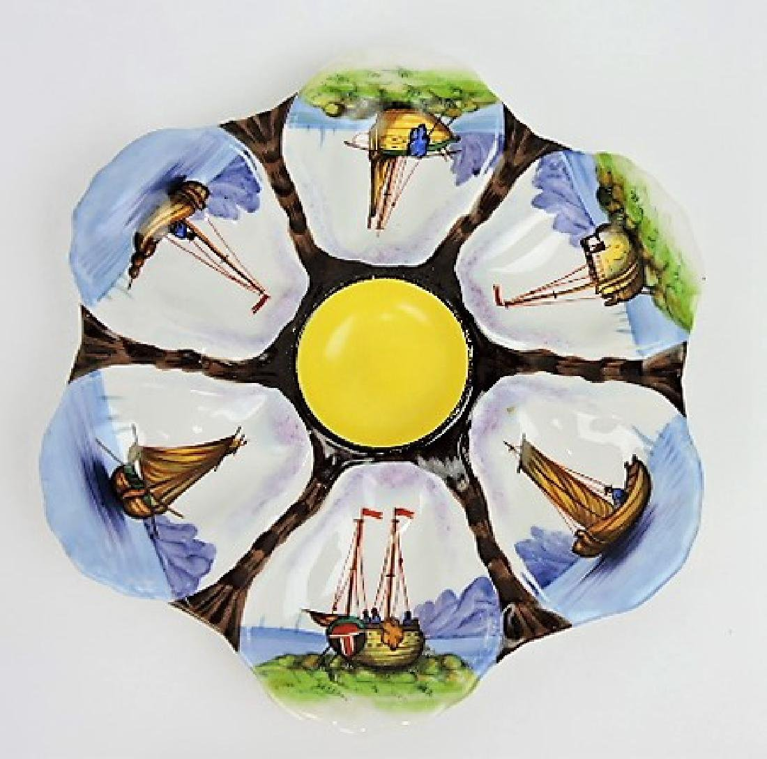 """Porcelain 6 well oyster with sailboats, 9"""""""