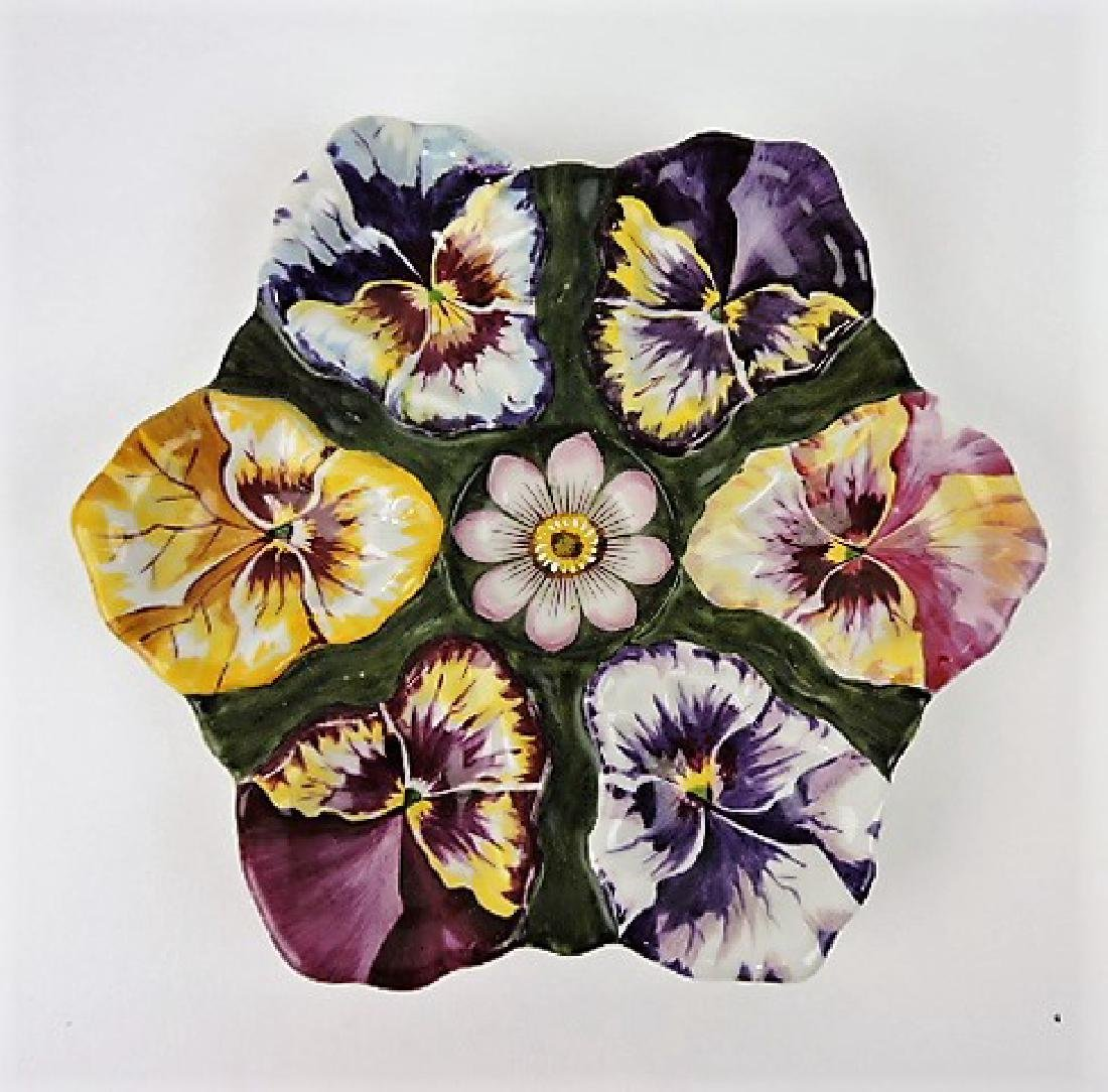"""Porcelain pansy 6 well oyster plate, 9"""""""
