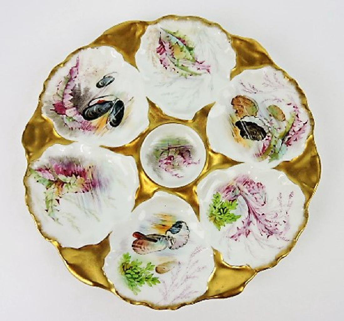 Limoges porcelain 6 well oyster plate decorated
