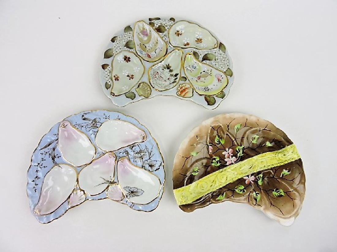 Porcelain crescent shape lot of 3- 5 well oyster