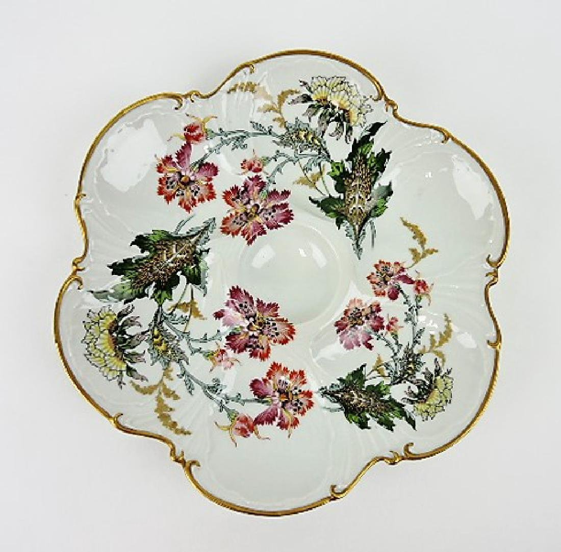 Limoges 6 well porcelain oyster plate with floral