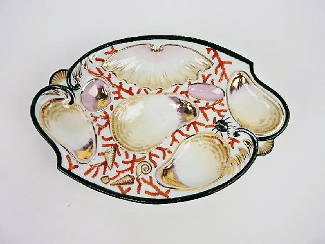 """Porcelain oval shape 4 well oyster plate, 9 1/2"""""""