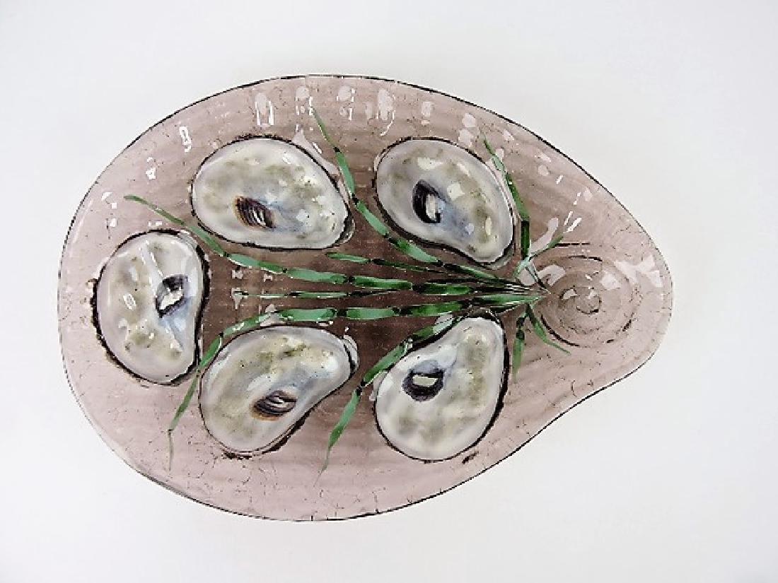 RARE Moser amethyst art glass 5 well oyster