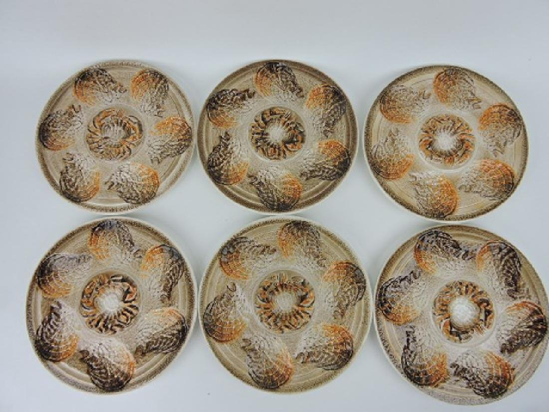 Sarreguemines set of 6 stoneware oyster