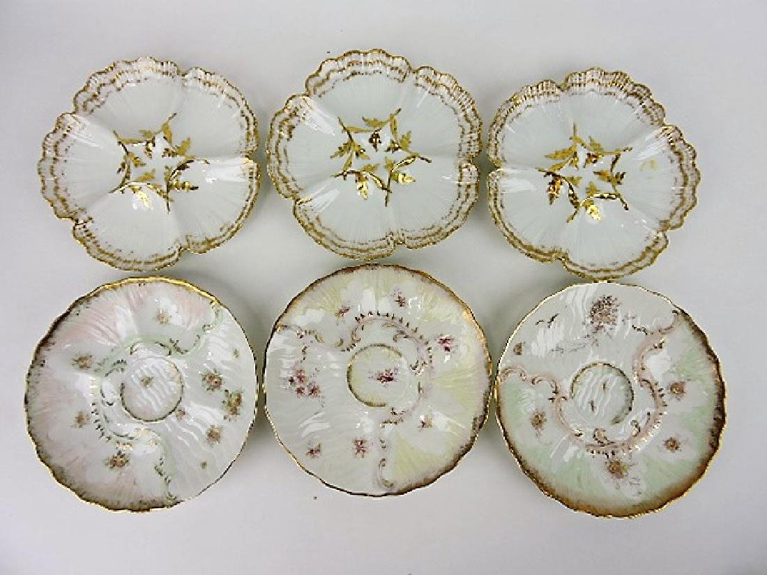 Two sets of 3 oyster plates- TV France Limojes and