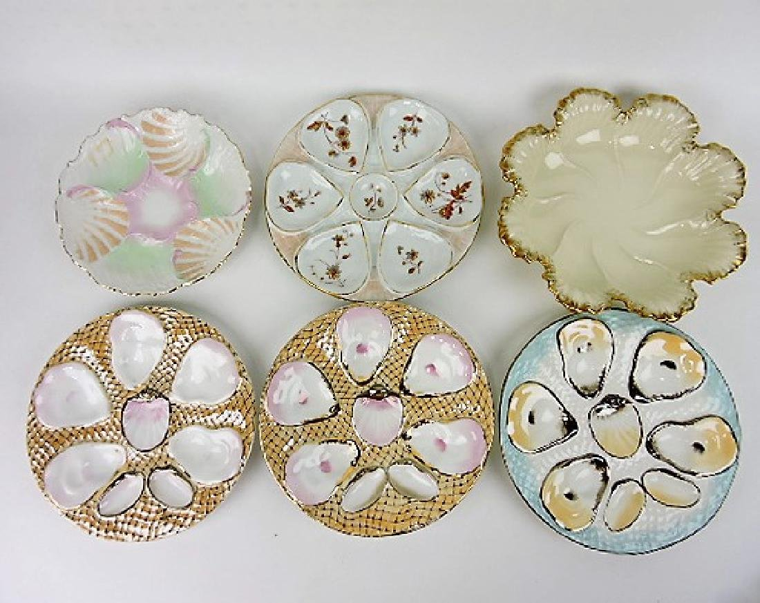 Lot of 6 porcelain oyster plates