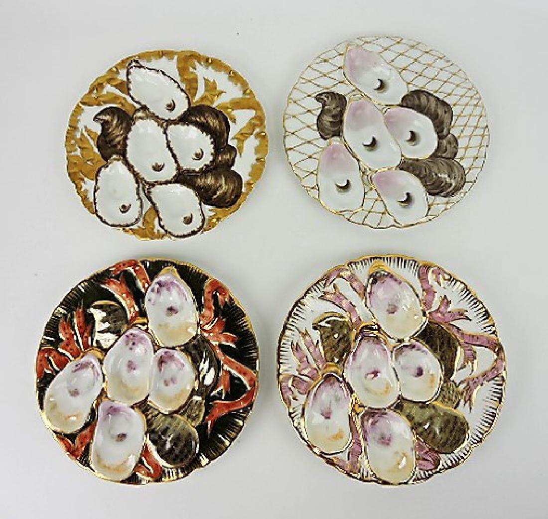 Lot of 4 porcelain turkey oyster plates