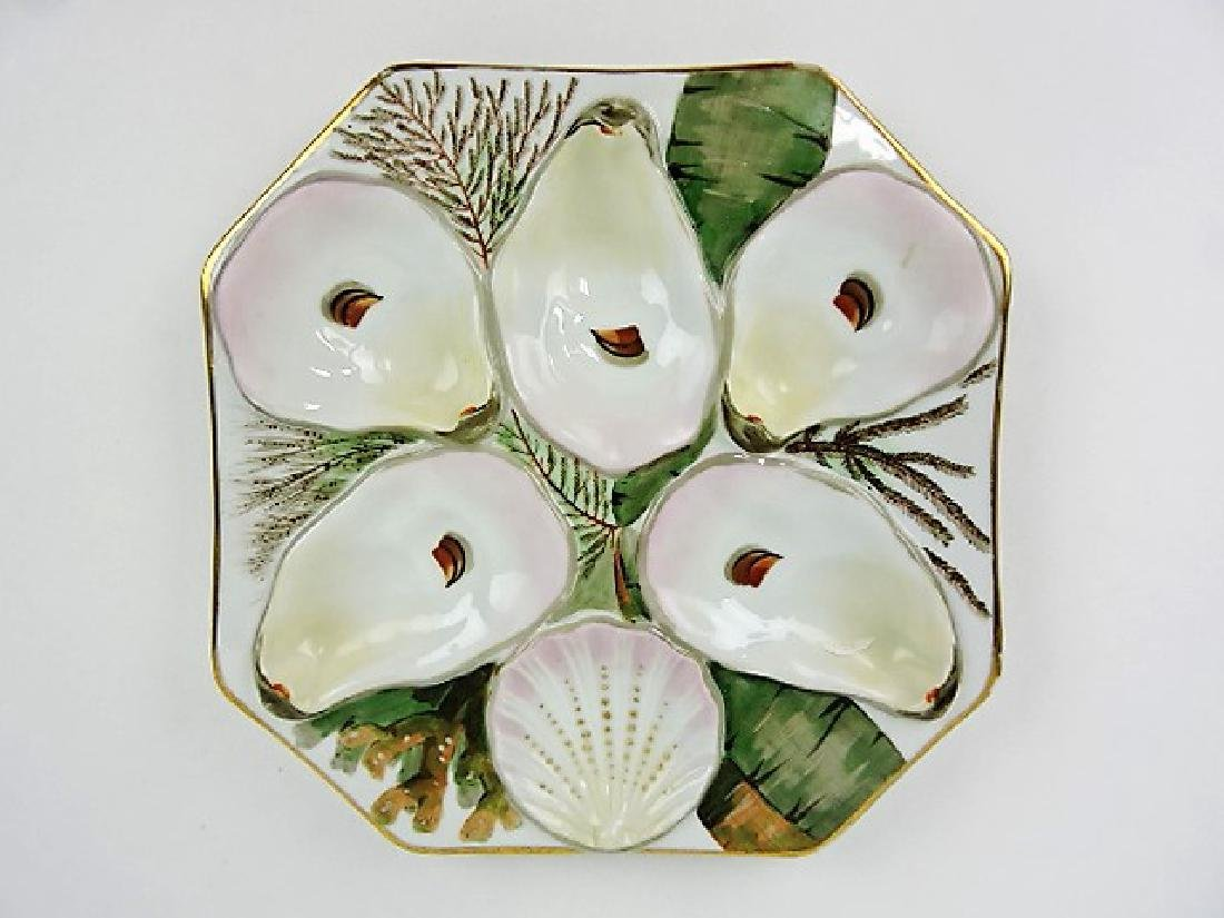 Porcelain 5 well square oyster plate, 8""