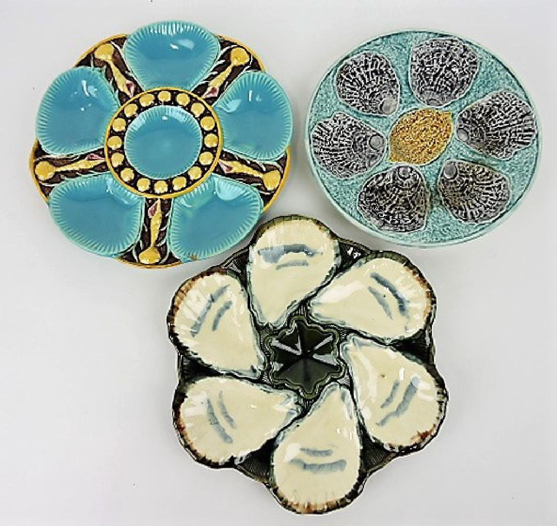 Majolica lot of 3 oyster plates, v.c.