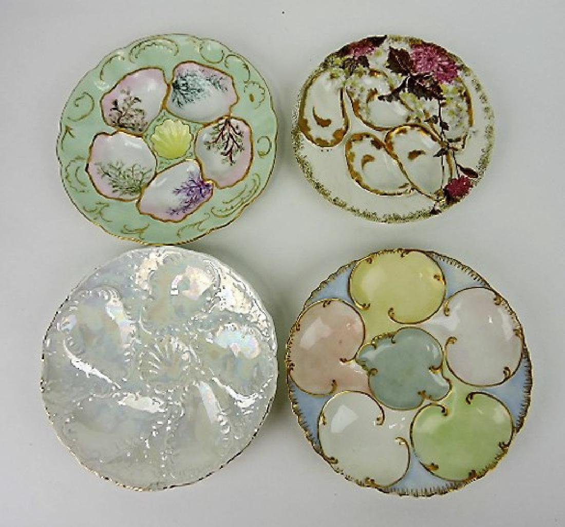 Porcelain lot of 4 oyster plates, v.c.