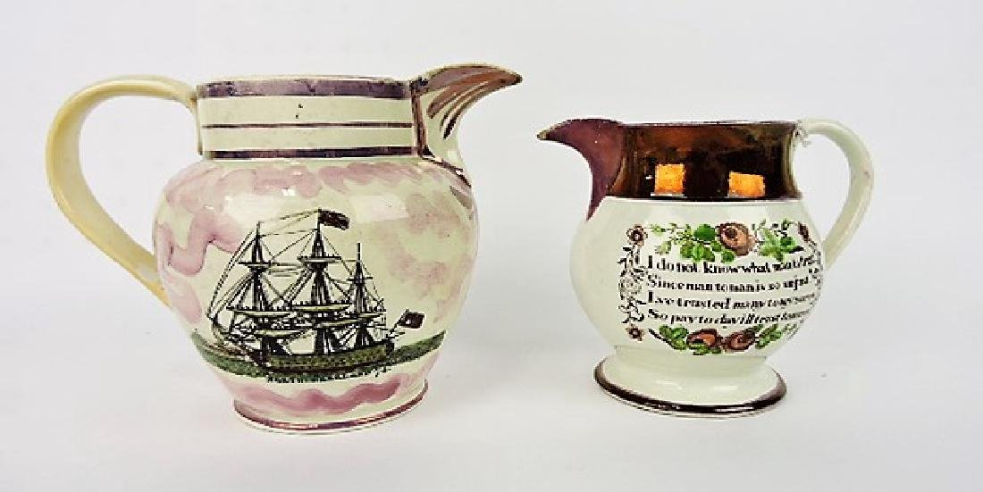 English Pearlware Sunderland Luster lot of 2