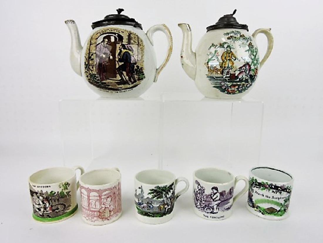 English Pearlware lot of 2 teapots and 5 mugs, vc