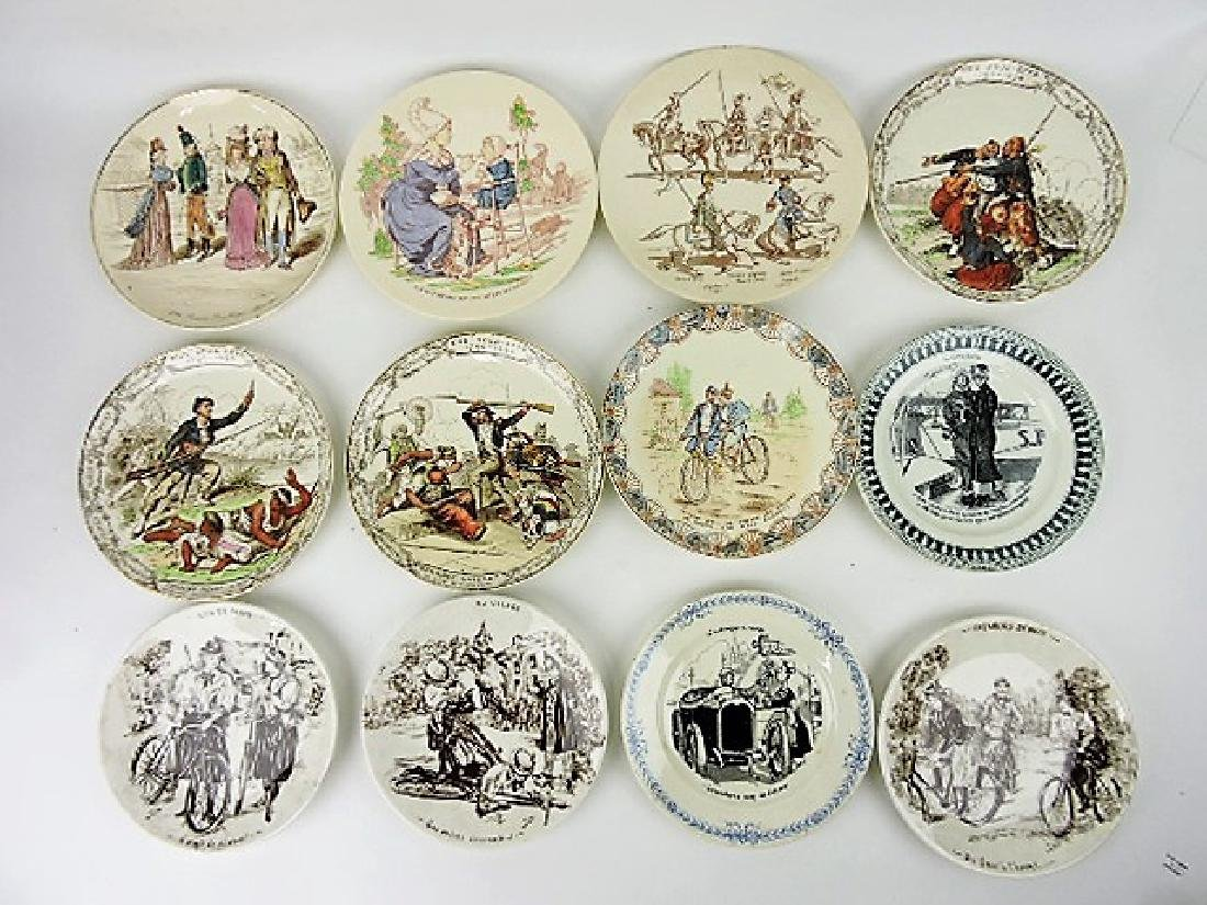 French lot of 12 plates some with bicyles and